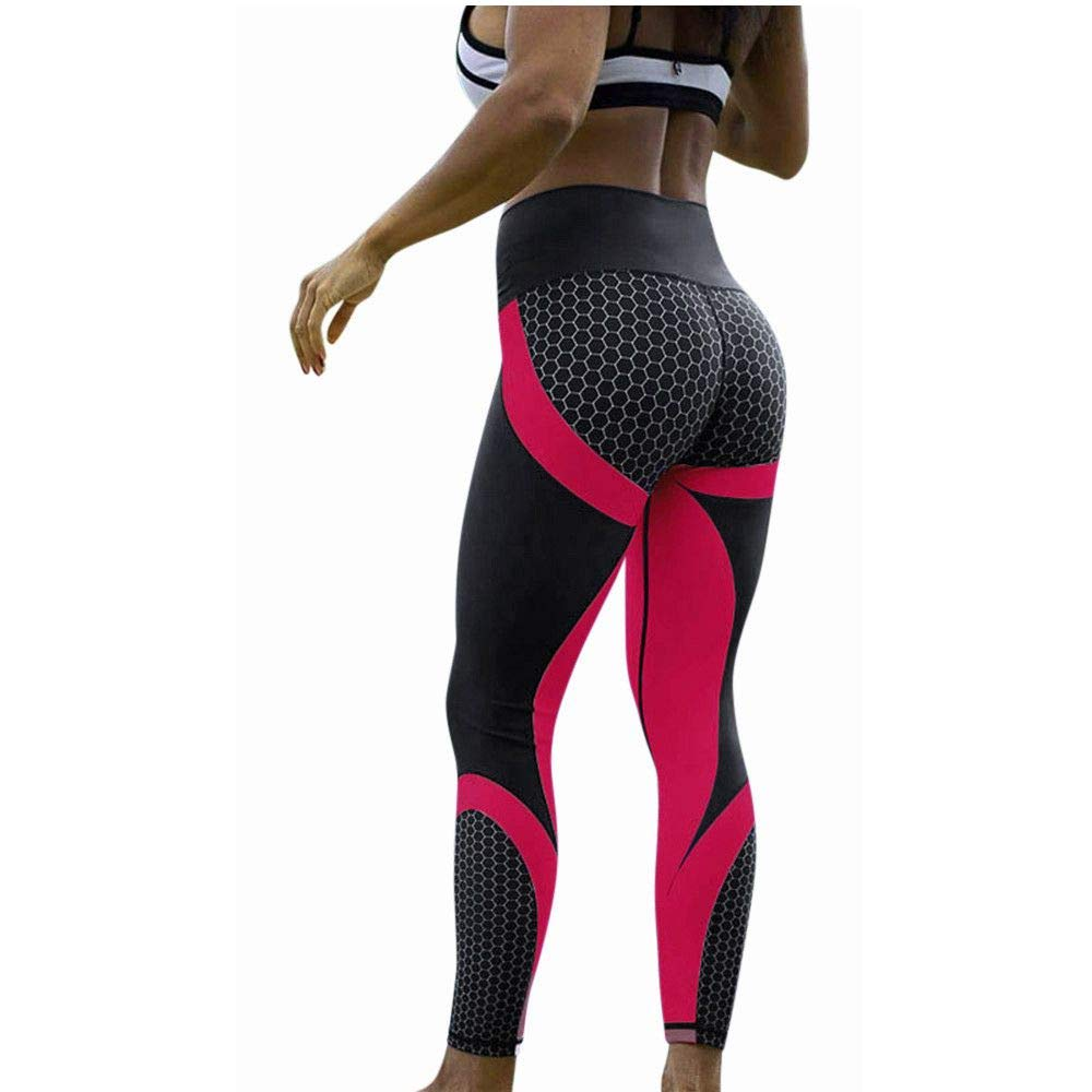 Women's High Waist Yoga Pants Butt Lifting Tummy Control Slimming Booty Leggings Workout Running Leggings Tights (Small, X1733 Red)