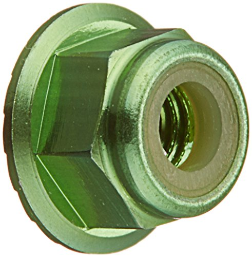 Lock Flanged Nut Aluminum (Traxxas 1747G Green-Anodized Aluminum Flanged and Serrated Lock Nuts (set of 4))