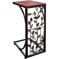 Sofa Side and End Table, Small - Metal, Dark Brown Wood Top With Leaf Design - Perfect for Your Living Room, Slides Up To Sofa/Chair / Recliner - Keep Snacks, Drinks Books & Phone At Easy Reach