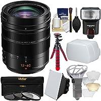 Panasonic Lumix G DG Vario-Elmarit 12-60mm f/2.8-4.0 ASPH Power OIS Zoom Lens with 3 Filters + Flash + Soft Box + Tripod + Kit