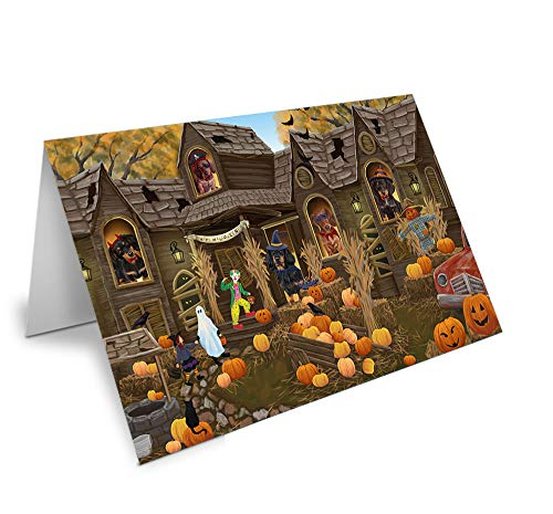 Haunted House Halloween Trick or Treat Dachshunds Dog Note Card NCD62618 (10)]()
