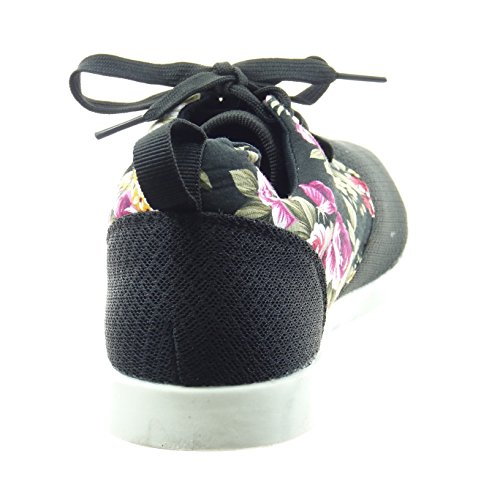 Sopily - damen Mode Schuhe Sneaker Blumen - Schwarz