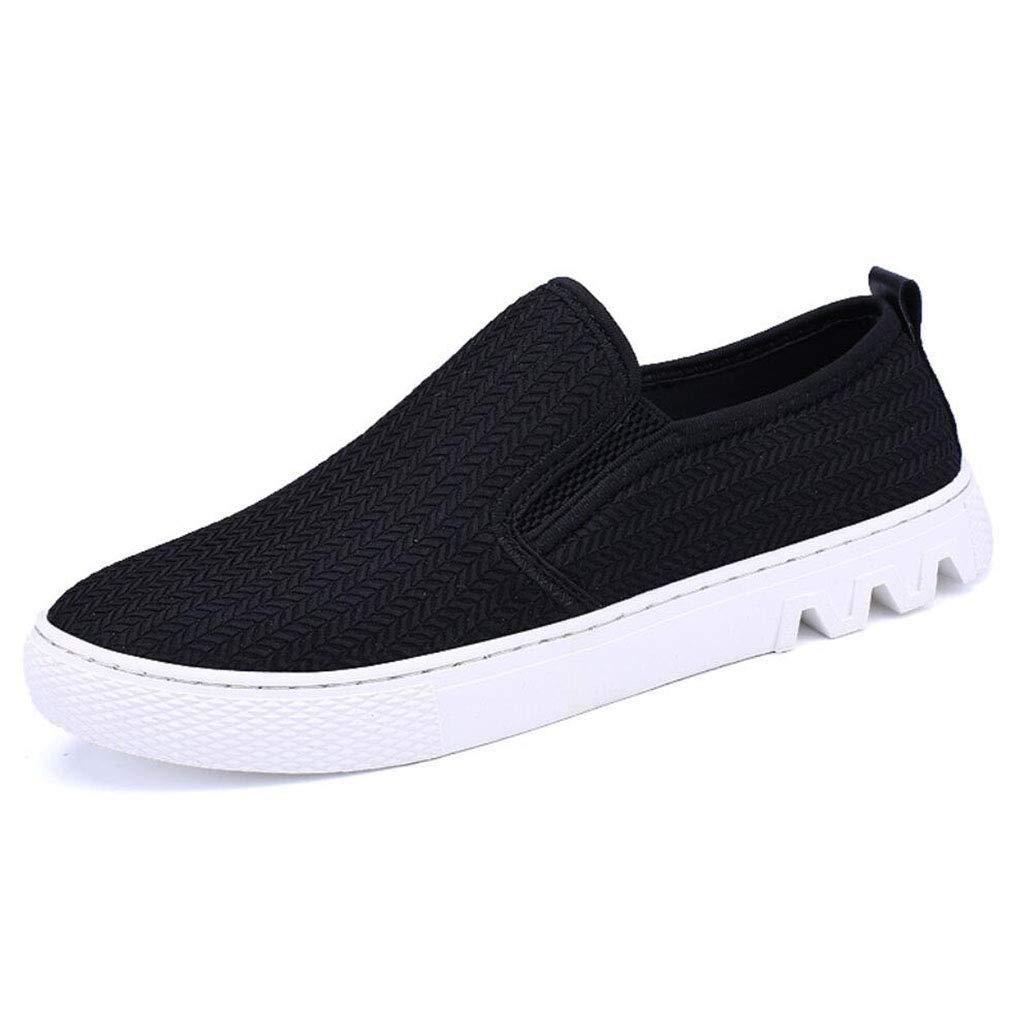 YAN Herren Schuhe Weave Slip on Stiefelschuhe Sommer Low-Top Casual Büro Loafers Schwarz 2018 New Herbst & Winter (Farbe   Schwarz, Größe   39)