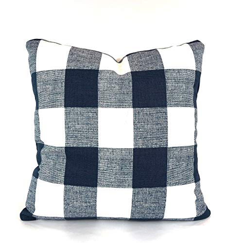 King65irginia Farmhouse Navy White Buffalo Check Throw Pillowcase Covers Cushion Covers Premier Navy White Buffalo Plaid Check Gingham Couch Bed Sofa ()
