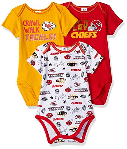 NFL Kansas City Chiefs Unisex-Baby 3-Pack Short Sleeve Bodysuits, Red, 18 Months ()
