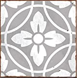 Pack of 10 STYLE 2 grey Victorian Moroccan retro traditional aged style Mosaic style tile transfers stickers bathroom kitchen stick on wall tile peel and stick size 6X6 Trendy retro