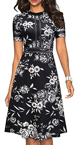 HOMEYEE Women's Chic Crew Neck Party Homecoming Aline Dress A135(12,Black Floral #2)