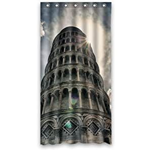 "(36"" x 72"" ) Majestic Leaning Tower of Pisa Shower Curtain with 7 holes"
