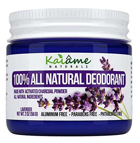 Kaiame Naturals Natural Deodorant (Lavendar) with Activated Charcoal Powder, All Natural and Organic Ingredients, Aluminum Free, Parabens Free, Phthalates Free