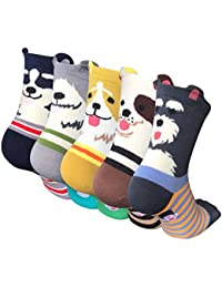 5 Pairs Womens Cute Dog Patterned Animal Socks Colorful Funny Casual Cotton Novelty Crew Socks