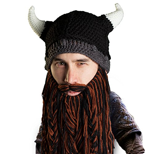 Beard Head Viking Pillager Beard Beanie - Funny Knit Horned Hat and Fake Beard