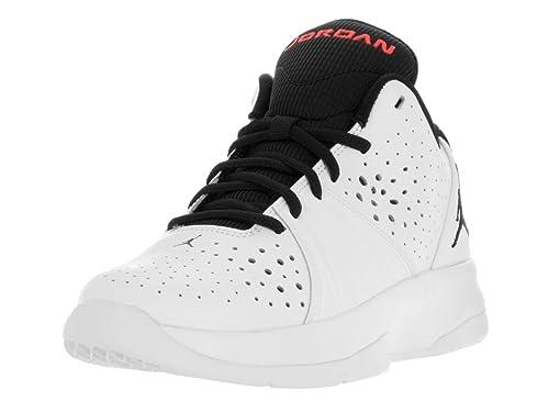 Amazon Com Jordan Nike Kids White Black Red Synthetic Leather High