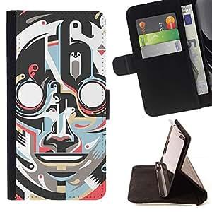 Momo Phone Case / Flip Funda de Cuero Case Cover - Robot Art Deco Cara Vintage Retro - HTC One A9