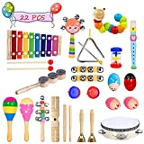 Toddler Musical Instruments- Bigear 15 Types 22pcs Wooden Toddler Musical Percussion Instruments Toy