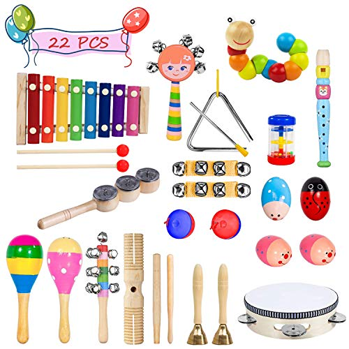 - Toddler Musical Instruments- LEKETI 15 Types 22pcs Wooden Toddler Musical Percussion Instruments Toy Set for Kids Preschool Educational, Early Learning Musical Toys Set for Boys and Girls