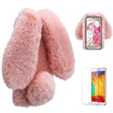 Funyye Pink Soft Villi Case for Samsung Galaxy J7 2018,Stylish Lovely 3D Plush Rabbit Ears Hairball Faux Fur Flexible Silicone Gel TPU Anti Scratch Durable Rubber Smart Case for Samsung Galaxy J7 2018 + 1 x Free Screen Protector