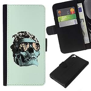 JackGot ( Verde fresco Miami cráneo Death Metal ) HTC Desire 820 la tarjeta de Crédito Slots PU Funda de cuero Monedero caso cubierta de piel