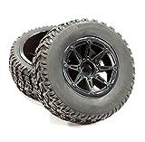 Integy Hobby RC Model C25264BLACK All Terrain HX Tires+D8 Spoke Wheels(2)12mm Hex for 1/10 Short Course (OD=105mm)