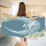smallbeefly Moon Bath Towel Vintage Crescent Moon with Grumpy Facial Expression Abstract Hand Drawn Style Customized Bath Towels Slate Blue Mustard Size: W 19.5'' x L 39.6''