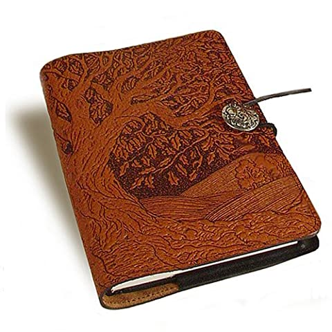 American Made Tree of Life Embossed Leather Writing Journal, 6 x 9-inch + Refillable Hardbound Blank - Oberon Journal
