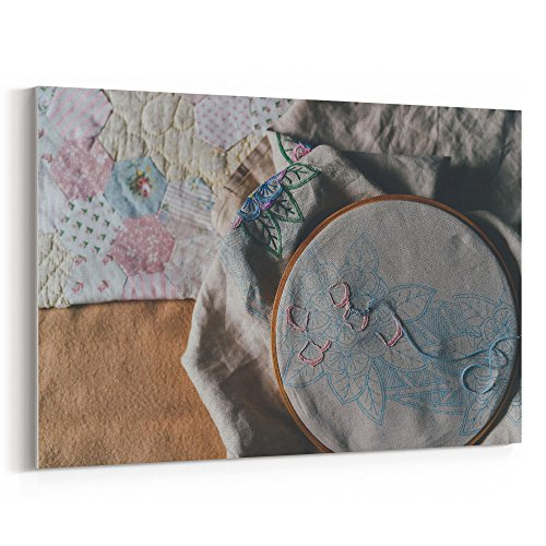 Westlake Art - Thread Craft - 12x18 Canvas Print Wall Art - Canvas Stretched Gallery Wrap Modern Picture Photography Artwork - Ready to Hang 12x18 Inch (B8EA-F41F1) (Square Hoop Hand Quilting)
