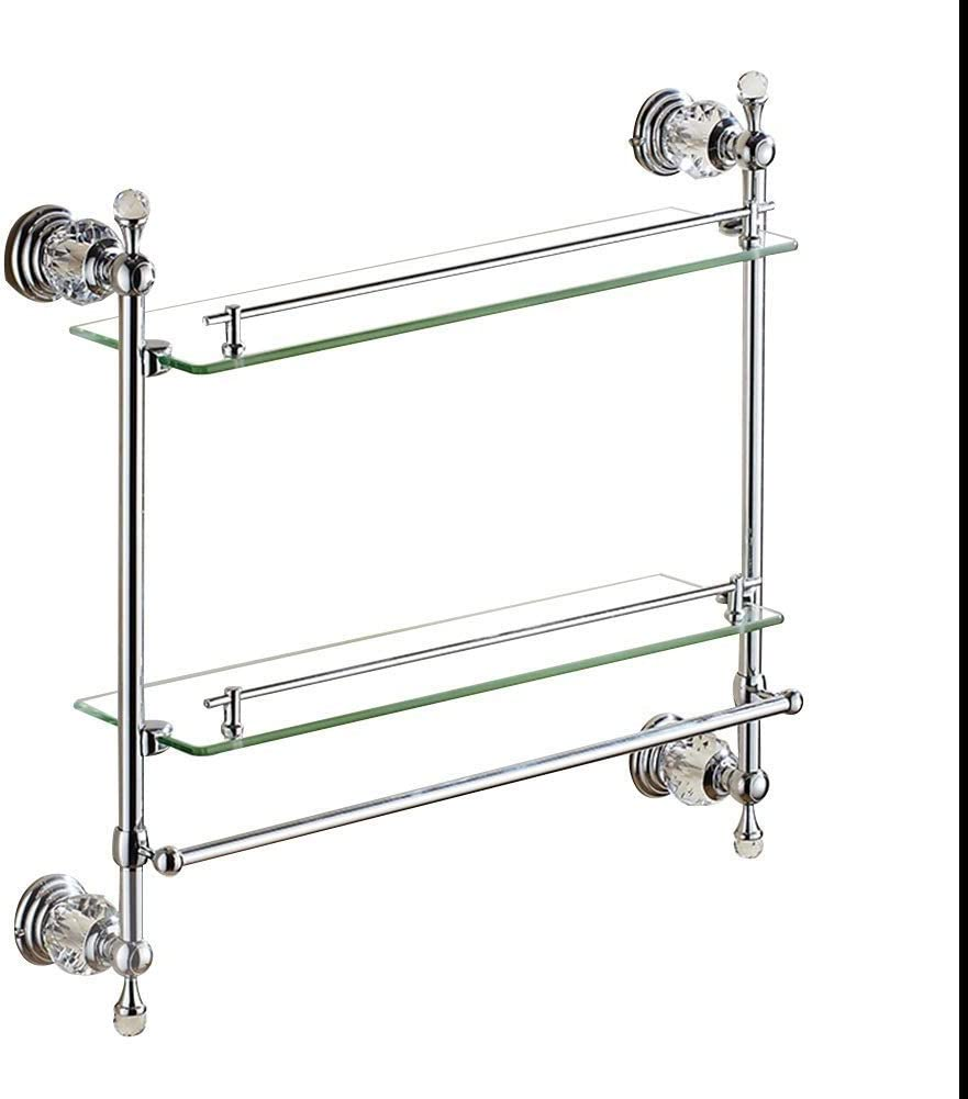 2 Tier Compact Bathroom Rack Shelf Rust-Proof Stainless Steel Storage Rack for Bathroom with Towel Rail Creative Bathroom Shelf