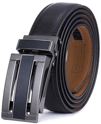 Marino Avenue Men's Genuine Leather Ratchet Dress Belt with Linxx Buckle - Gift Box (Black - Style 163, Adjustable from 28