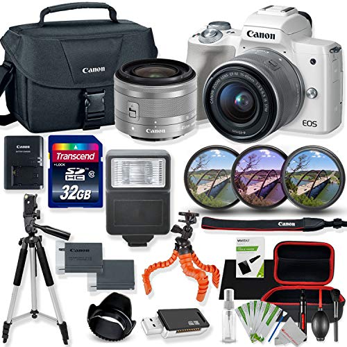 Canon EOS M50 Mirrorless Digital Camera (White) with 15-45mm STM Lens Kit with Premium Accessory Bundle