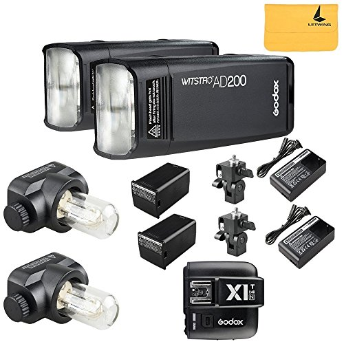 GODOX AD200 TTL 2.4G HSS 1/8000s 2Pcs Pocket Flash Light Double Head 200Ws with 2900mAh Lithium Battery+GODOX X1T-N Wireless Flash Trigger Transmitter Compatible for Nikon Cameras