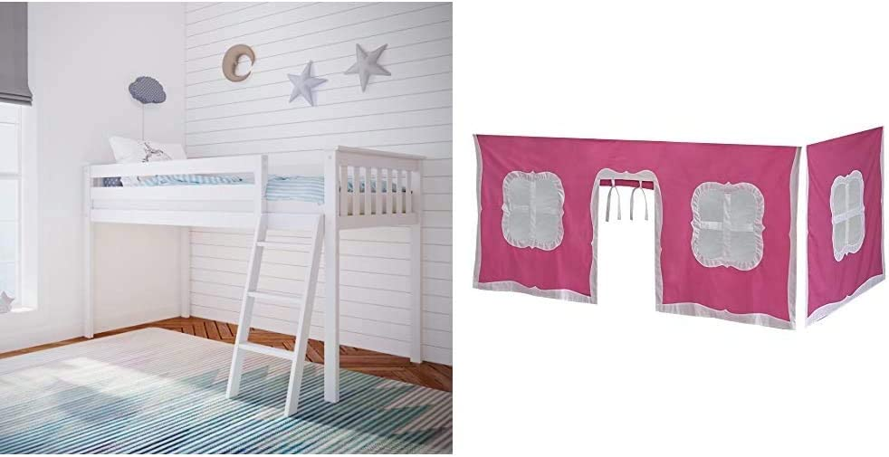 Max & Lily Solid Wood Twin-Size Low Loft Bed, White & Cotton Underbed Curtains, Pink & White