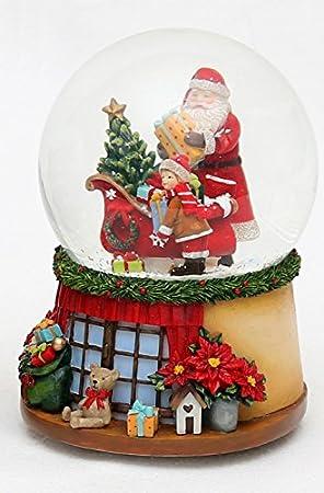 Bella palla di vetro con neve e scatola musicale, Disegno: Babbo Natale, circa 14,5 x 11 cm/ Ø 10 cm Dekohelden24