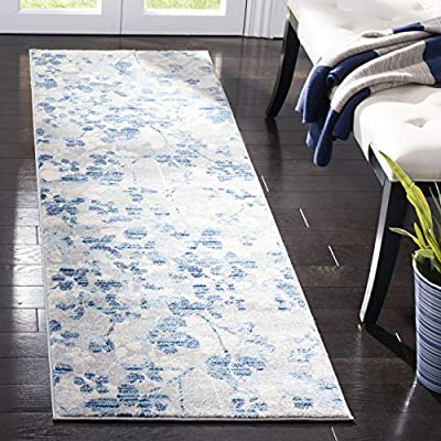 """Safavieh Evoke Collection EVK236J Vintage Floral Grey and Light Blue Runner (2'2"""" x 7') - Transitionally designed, these artfully crafted rugs can be integrated into any contemporary, modern, traditional, or bohemian styles of décor Refined power-loomed construction ensures an easy-care and virtually non-shedding rug Made from enhanced premium polypropylene fibers providing both comfort and durability - runner-rugs, entryway-furniture-decor, entryway-laundry-room - 511k30K%2BUeL. SS400  -"""