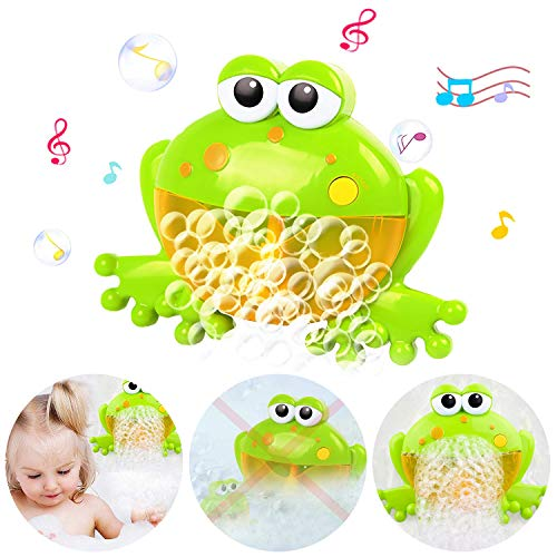 HZONE Frog Bubble Machine for Baby Bath Toys, Musical Bathtub Bubble Toy Bubble Maker with Nursery Rhyme for Infant Baby Children Kids Happy Tub Time,Bubble Machine for Boys and Girls Aged 1 2 3 4