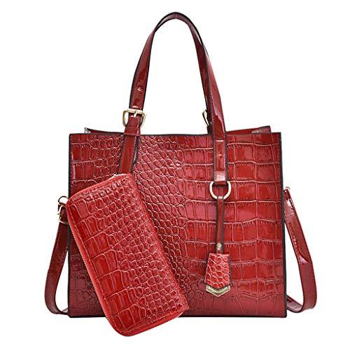 (Bag Set 2pcs Women Alligator Pattern PU Leather Handbags Purses Ladies Tote Shoulder Bags Satchel Top Handle Work Bags Briefcase with Matching Wallet)