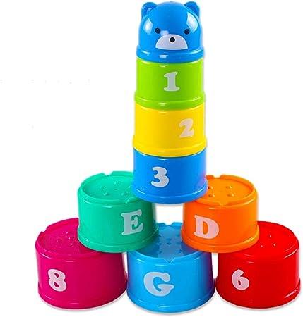 RFJJAL 9Pcs Figuras Cartas Copa Plegable apilable Pagoda Bebé Educativo Juguetes para niños: Amazon.es: Hogar