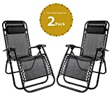 Leisure Zone Set of 2 Heavy Duty Textoline Zero Gravity Chairs Garden Sunloungers Folding Reclining Chairs Lounger Deck Chairs
