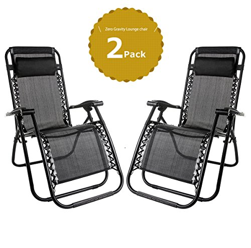 Set of 2 Heavy Duty Textoline Zero Gravity Chairs Garden Sunloungers Folding Reclining Chairs Lounger Deck Chairs
