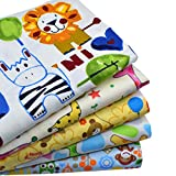 "iNee 5 Fat Quarters Zoo Animals Quilting Fabric Bundles Sewing DIY Craft, 18""x22"""