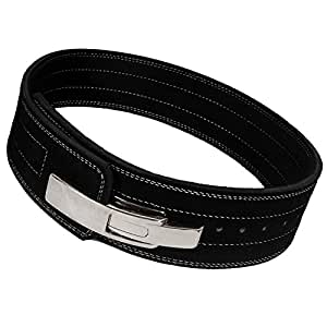 "Weight Power Lifting Leather Lever Pro Belt Gym Training Powerlifting (Black, Small 24""-28"")"