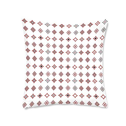 YOLIYANA Abstract Soft Square Pillowcase,Diamond Shaped Geometric Figure with Inner Artful Forms Symbolic Architecture Icon Decorative for Living Room Bedroom,17.7