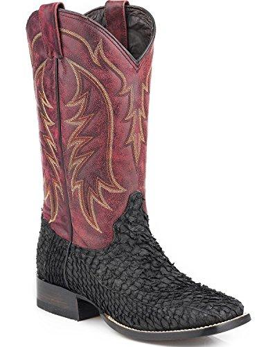 Stetson Mens Huachinango Fisk Cowboy Boot Fyrkantig Tå - 12-020-8838-3604 Bl Svart