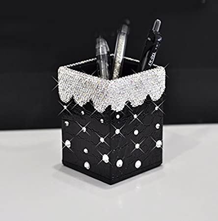 Bestbling Bling Pencil Pot Holder Rhinestone Pen Organizer Holder Cosmetic Pen Container (Silver, Square) REM Craft Co. LTD