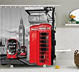 dark grey curtains uk Ambesonne London Shower Curtain, London Telephone Booth in The Street Traditional Local Cultural Icon England UK Retro, Fabric Bathroom Decor Set with Hooks, 84 inches Extra Long, Red Grey