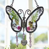 Stained Glass Suncatcher Grandma Butterfly Suncatcher Wind Chime with Pressed Flower Wings Embedded in Glass with Metal Trim Grandma Heart Charm - Gifts for Grandma -Grandma for birthdays Christmas