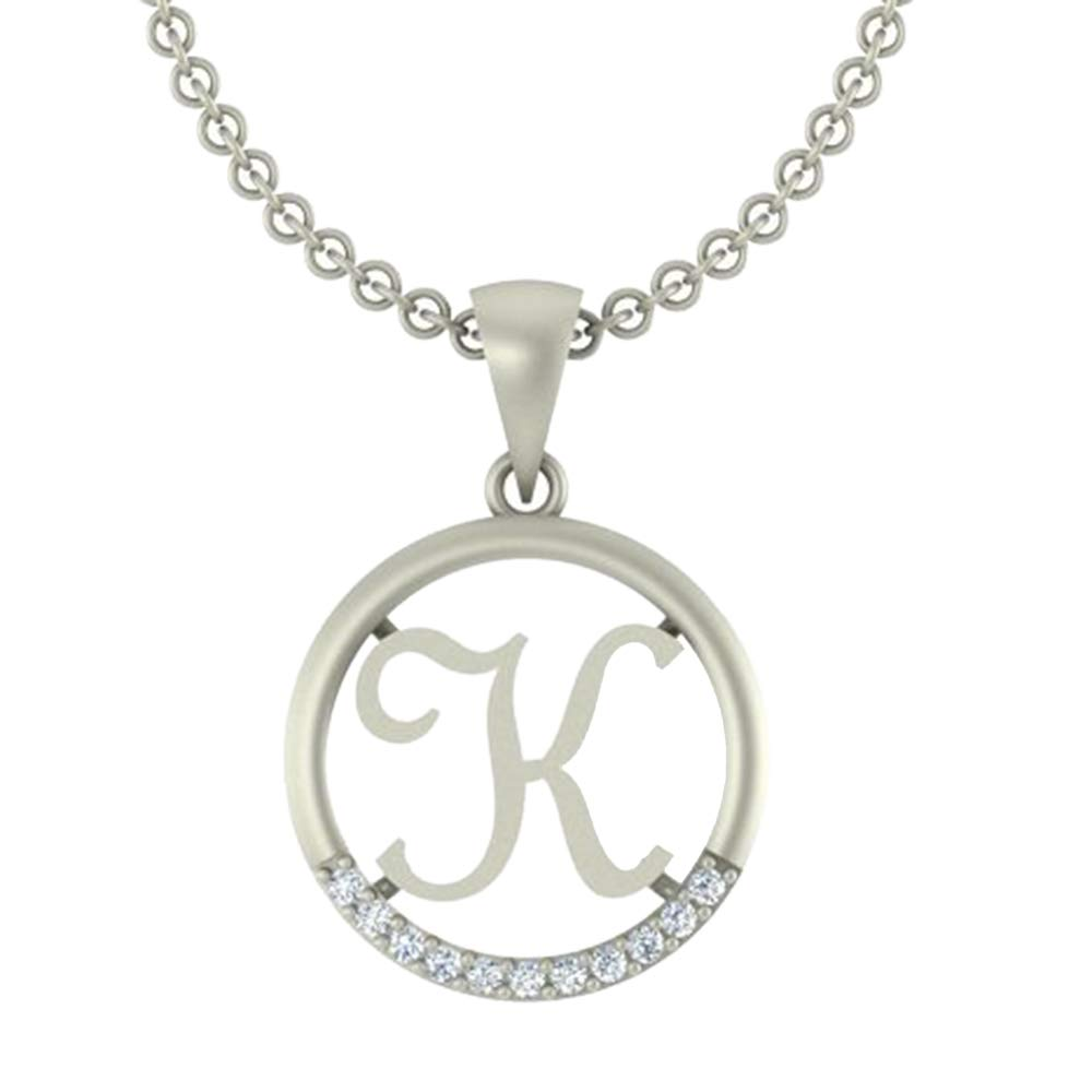 0.05 Ct Round Cut Simulated Diamond letterK In Circle pendant With 18 Chain 14K White Gold Plated