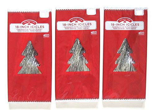 Christmas Tree Tinsel Icicles, Silver, 18 Inch, 1000 Strands per Box - Bundle of 3 - Holiday Tinsel