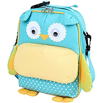 Yodo 3-Way Convertible Playful Insulated Kids Lunch Boxes Carry Bag / Preschool Toddler Backpack for Boys Girls, with Quick Access front Pouch for Snacks, Blue Owl