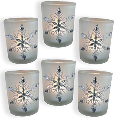 Design Votive Candles - BANBERRY DESIGNS Snowflake Votive Candleholders with Flameless Flickering LED Candles Set of 6 Frosted Glass Glittery Snowflakes with Jewels - 2-3/4