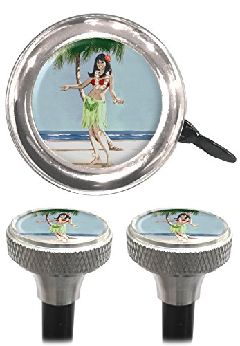 Clean Motion Hula Girl Capperz Valve Stem Caps and Bell