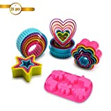 Feicuan 21pcs Christmas Cookie Cutter Set Silicone Fondant Cake Mould Xmas MOL & 5 Sizes Star Flower Round Heart